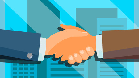 Handshake Concept Vector. Business People Cooperation. Meeting Agreement. Flat Illustration Vectores