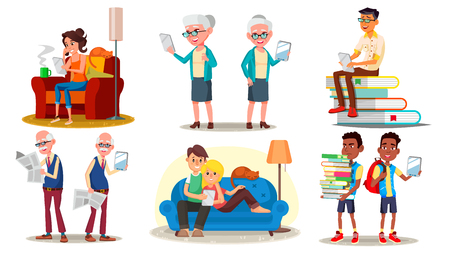 E-Book Reader Concept. Vector. E-Learning. Alternative Device. People Reading With An E-book. Mobile Library. Digital Tablet. Traditional Textbook VS Ebook. Isolated Flat Cartoon Illustration