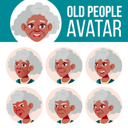 Old Woman Avatar Set Vector. Black. Afro American. Face Emotions. Senior Person Portrait. Elderly People. Aged. Friendly. Positive Person. Cartoon Head Illustration