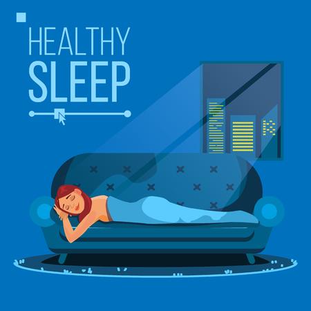 Sleeping Beautiful Woman Vector. Peacefully. Flat Cartoon Illustration Vettoriali