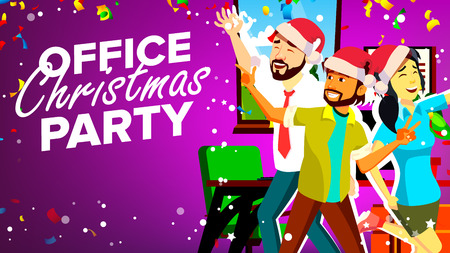 Office Christmas Party Vector. Smiling. Happy Business People. Merry Christmas And Happy New Year. Young Man, Woman. Cartoon Illustration