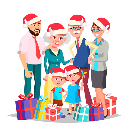 Christmas Family Portrait Vector. Big Happy Family. Traditional Event. Santa Hats. New Year Gifts. Parents, Grandparents, Children. Greeting, Postcard Colorful Design Isolated Cartoon Illustration