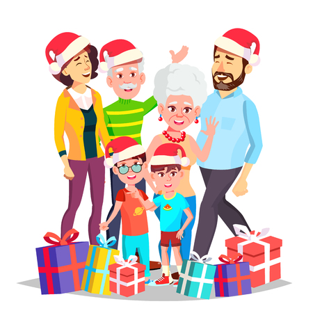 Christmas Family Vector. December Eve. Cheerful. Mom, Dad, Children, Grandparents Together. Happy. New Year Gifts Banner Flyer Brochure Design Isolated Cartoon Illustration