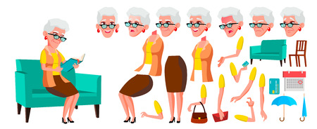 Old Woman Vector. Senior Person Portrait. Elderly People. Aged. Animation Creation Set. Face Emotions, Gestures. Cheerful Grandparent. Card Design. Animated. Isolated Cartoon Illustration