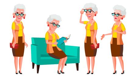 Old Woman Poses Set Vector. Elderly People. Senior Person. Aged. Cheerful Grandparent. Presentation, Invitation, Card Design. Isolated Cartoon Illustration