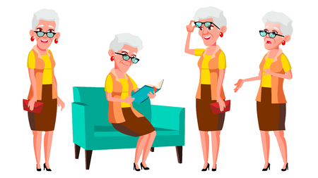 Old Woman Poses Set Vector. Elderly People. Senior Person. Aged. Cheerful Grandparent. Presentation, Invitation, Card Design. Isolated Cartoon Illustration