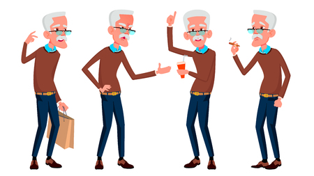Old Man Poses Set Vector. Elderly People. Senior Person. Aged. Caucasian Retiree. Smile. Web, Poster, Booklet Design Isolated Cartoon Illustration