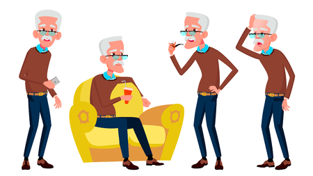 Old Man Poses Set Vector. Elderly People. Senior Person. Aged. Funny Pensioner. Leisure. Postcard, Announcement, Cover Design. Isolated Cartoon Illustration