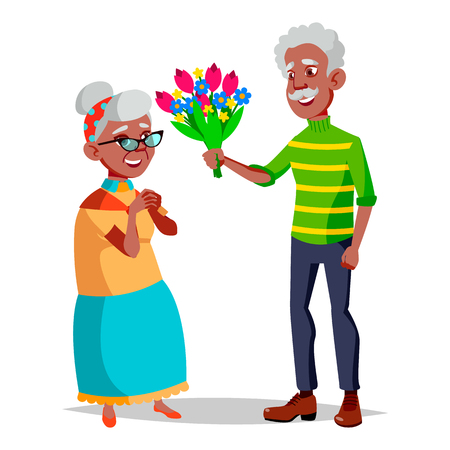Elderly Couple Vector. Modern Grandparents. Elderly Family. Grey-haired Characters. Isolated Flat Cartoon Illustration