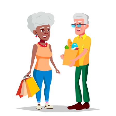 Elderly Couple Vector. Grandfather And Grandmother. Face Emotions. Happy People Together. Black, Afro American, European. Isolated Flat Cartoon Illustration