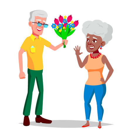 Elderly Couple Vector. Modern Grandparents. Elderly Family. Grey-haired Characters. Black, Afro American, European. Isolated Flat Cartoon Illustration