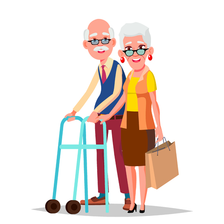 Elderly Couple Vector. Grandpa With Grandmother. Lifestyle. Couple Of Elderly People. Isolated Flat Cartoon Illustration