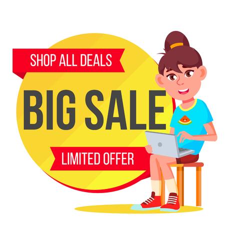 Big Sale Banner Vector. School Children, Pupil. Kids School Shopping. Half Price Colorful Stickers. Isolated Illustration Ilustração Vetorial