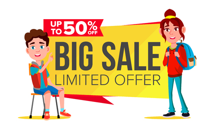Big Sale Banner Vector. School Children, Pupil. Funny Character. Up To 50 Percent Off Badges. Isolated Illustration