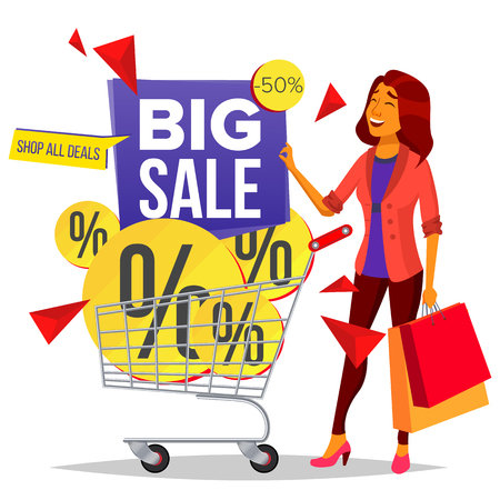 Shopping Woman Vector. Grocery Cart. Big Sale. Groceries In Shop, Supermarket. Holding Paper Packages. Store. Pleasure Of Purchase. Business Isolated Cartoon Illustration Vettoriali