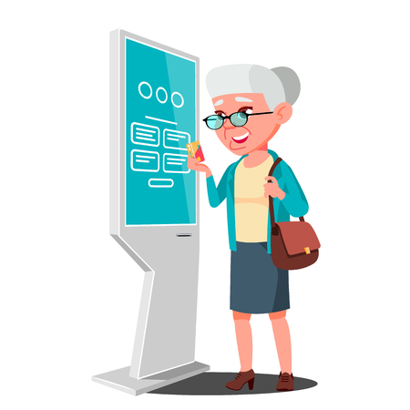 Old Woman Using ATM Machine, Digital Terminal Vector. Digital Kiosk LED Display. Self Service Information System. Isolated Flat Cartoon Illustration