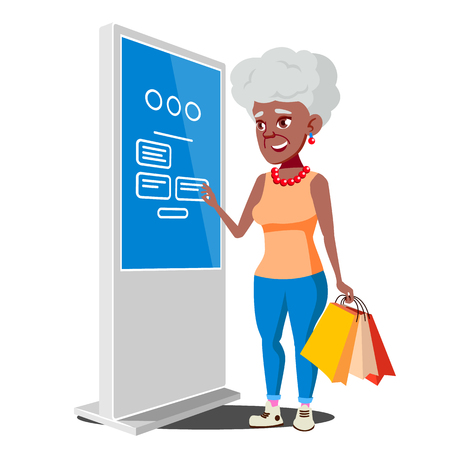 Anciana con cajero automático, Vector terminal digital. Pantalla táctil publicitaria. De pie. Depósito de dinero, retiro. Ilustración de dibujos animados plano aislado