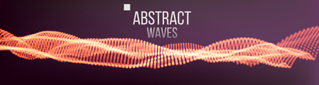 Music Waves Abstract Sound Background Vector. Points Array. Intricate Data Threads Plot. Illustration
