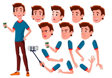 Teen Boy Vector. Teenager. Face. Children. Face Emotions, Various Gestures. Animation Creation Set. Isolated Flat Cartoon Character Illustration Foto de archivo - 107708965