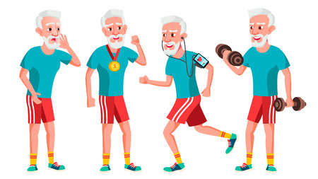 Old Man Poses Set Vector. Elderly People. Senior Person. Sport, Fitness. Aged. Positive Pensioner. Advertising, Placard, Print Design Isolated Cartoon Illustration