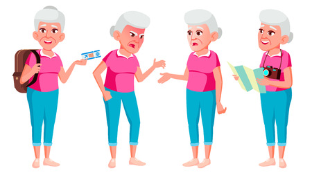 Old Woman Poses Set Vector. Elderly People. Senior Person. Aged. Tourist, Tourism. Beautiful Retiree. Life. Card Advertisement Greeting Design Isolated Cartoon Illustration