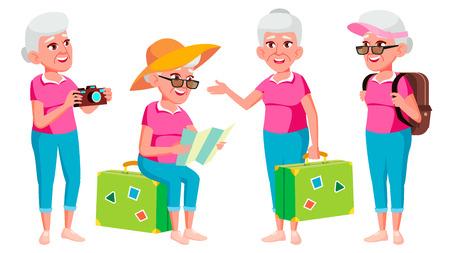 Stara kobieta pozuje wektor zestaw. Starsi ludzie. Osoba starsza. W wieku. Turysta, turystyka. Kaukaski emeryt. Uśmiechnij się. Reklama powitanie ogłoszenie projekt ilustracja kreskówka na białym tle