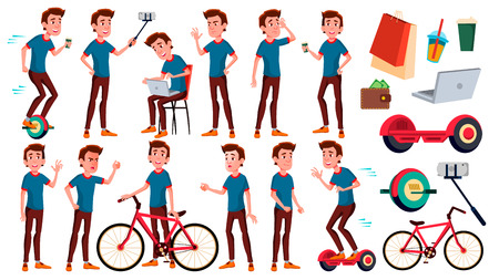 Teen Boy Poses Set Vector. Friends, Life. For Presentation, Invitation, Card Design. Isolated Cartoon Illustration