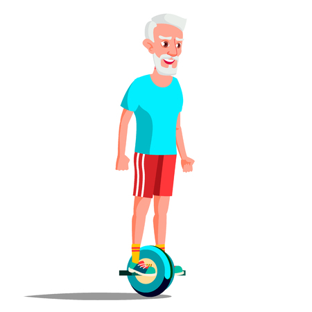 Old Man On Hoverboard Vector. Riding On Gyro Scooter. One-Wheel Electric Self-Balancing Scooter. Positive Person. Illustration Illustration