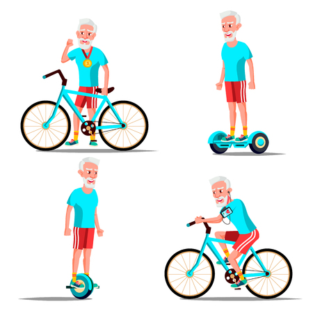Old Man Riding Hoverboard, Bicycle Vector. City Outdoor Sport Activity. Gyro Scooter, Bike. Eco Friendly. Healthy Lifestyle. Illustration Illustration