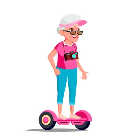 Old Woman On Hoverboard Vector. Riding On Gyro Scooter. Outdoor Activity. Two-Wheel Electric Self-Balancing Scooter. Illustration
