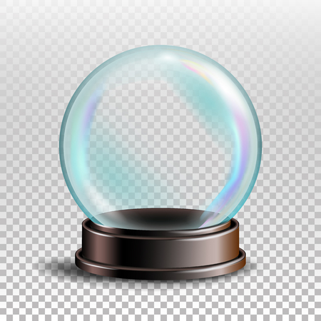 Christmas Snowglobe Vector. Sphere Ball. Crystal Glass Empty Ball. Transparent Background . Realistic Illustration