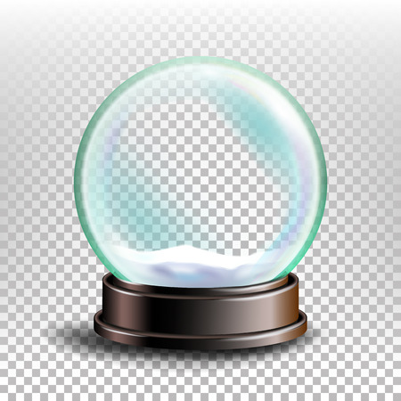 Christmas Snowglobe Vector. Glass Sphere On A Stand. Transparency Souvenir. Realistic Illustration
