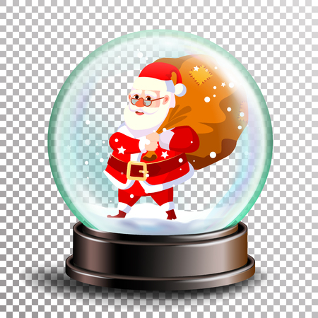 Christmas Snowglobe Vector. Cute Santa Claus With Gifts. Sphere Ball. Crystal Glass Empty Ball. Transparent Background . Illustration Stock Photo