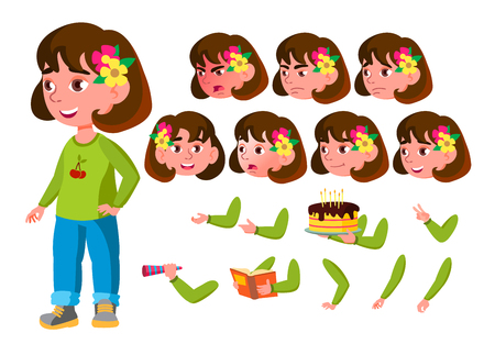 Girl, Child, Kid, Teen Vector. Schooler. Young. Face Emotions, Various Gestures. Animation Creation Set. Isolated Flat Cartoon Character Illustration