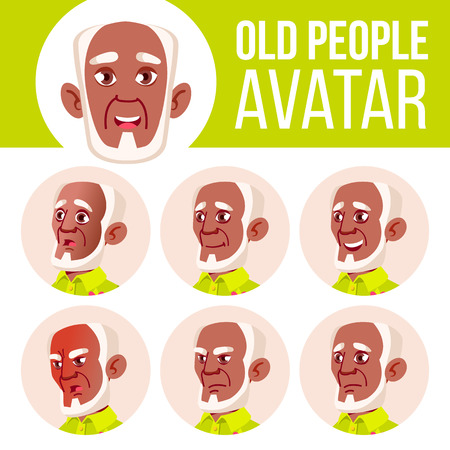Old Man Avatar Set Vector. Black. Afro American. Face Emotions. Senior Person Portrait. Elderly People. Aged. Life, Emotional. Cartoon Head Illustration