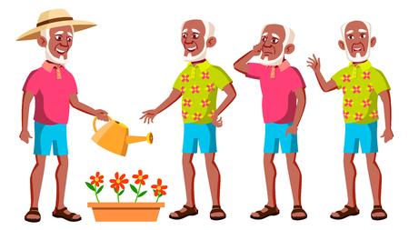 Le vieil homme pose le vecteur. Le noir. Afro américain. Personnes âgées. Personne âgée. Vieilli. Grand-parent actif. Joie. Web, brochure, conception d'affiche, isolé, dessin animé, illustration