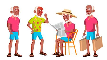 Old Man Poses Set Vector. Black. Afro American. Elderly People. Senior Person. Aged. Beautiful Retiree. Life. Presentation, Print Invitation Design Isolated Cartoon Illustration Иллюстрация
