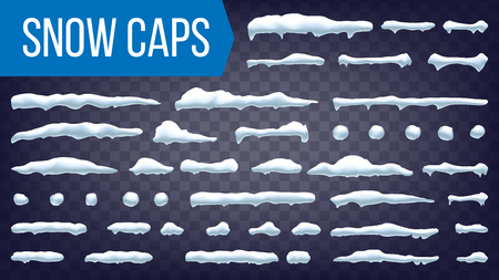Snow Caps Vector. Snowball And Snowdrift Winter Decoration. Frozen Effect Isolated Illustration