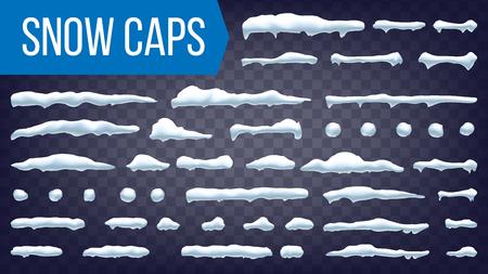 Vector de casquillos de nieve. Decoración de invierno de bola de nieve y ventisquero. Ilustración aislada de efecto congelado