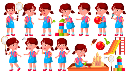 Girl Kindergarten Kid Poses Set Vector. Preschool. Young Person. Cheerful. For Web, Brochure, Poster Design. Isolated Cartoon Illustration