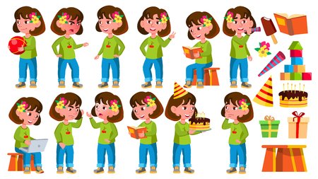 Girl Kindergarten Kid Poses Set Vector. Little Child. Funny Toy. Lifestyle. For Advertising, Placard, Print Design. Isolated Cartoon Illustration
