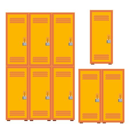 Classic School Locker, Metal Cabinet Icon Vector. Isolated Cartoon Illustration Vettoriali