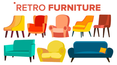 Retro Möbel Vektor. Vintage 1950er, 1960er Jahre Sessel Sofa. Mitte des Jahrhunderts Interieur. Isolierte Karikaturillustration