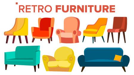 Vector de muebles retro. Sofá sillón vintage de los años 50 y 60. Interior de mediados de siglo. Ilustración de dibujos animados aislado