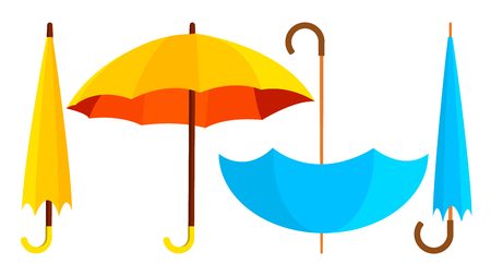 Umbrella Icon Vector. Opened And Closed. Autumn Rain Concept. Isolated Cartoon Illustration