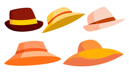Retro Hat Set Vector. Brown. Classic Traditional Hat For Man, Elegant Woman. Cloth Head Fashion. Isolated Cartoon Illustration