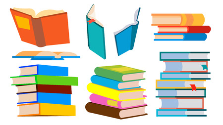 Stack Of Books Vector. Pile. Different Angles, Height. Learning, Reading Concept Cartoon Illustration