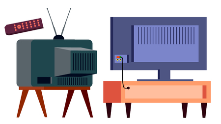 Retro Tv Vs Modern HD Plasma Vector. Backside. lcd panel And Vintage Old Analog Display Screen. Isolated Cartoon Illustration