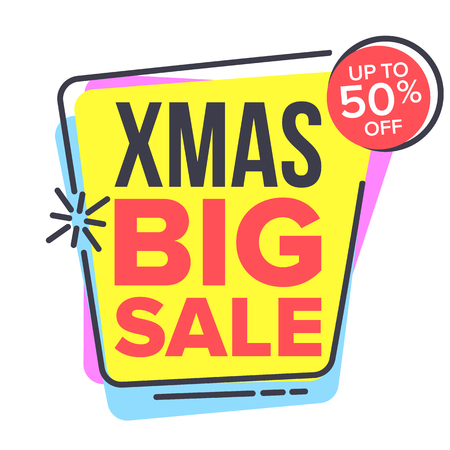 Christmas Big Sale Sticker Vector. Spring Bright Design. Promo Icon. Price Tag Label. Isolated Illustration Stock Vector - 108534418