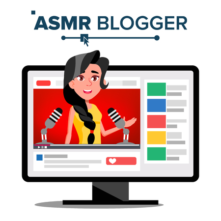 ASMR Blogger Channel Vector. Woman. Relax Effect. Insomnia Concept. Popular Video Streamer Blogger. Isolated Illustration